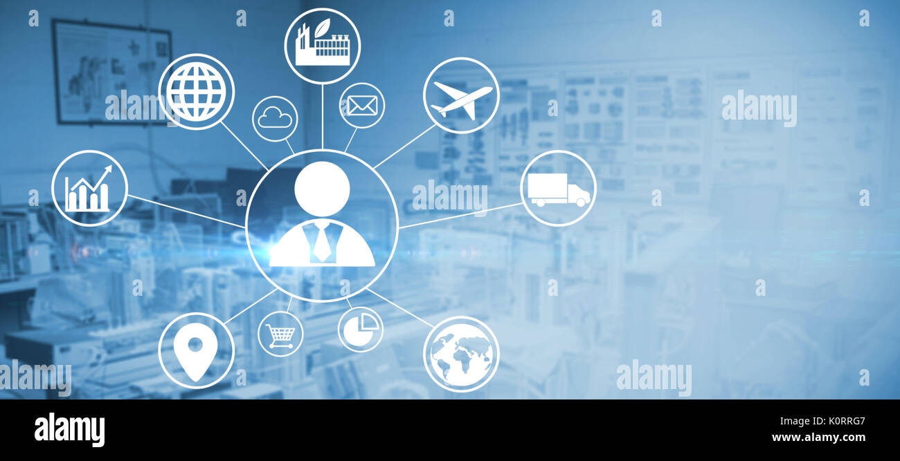 Composite image of human representation amidst various icons against image of technology - Stock Image