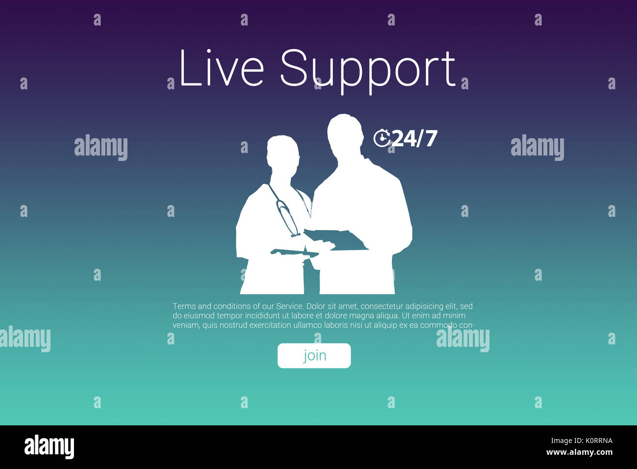 Live support text with human representations against turquoise and purple background Stock Photo