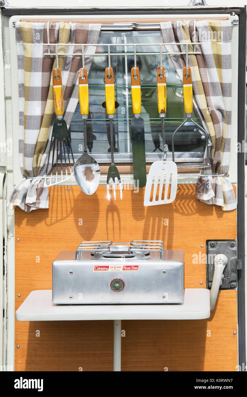 1967 Vw Split Screen Campervan Door With Vintage Cooking Utensils