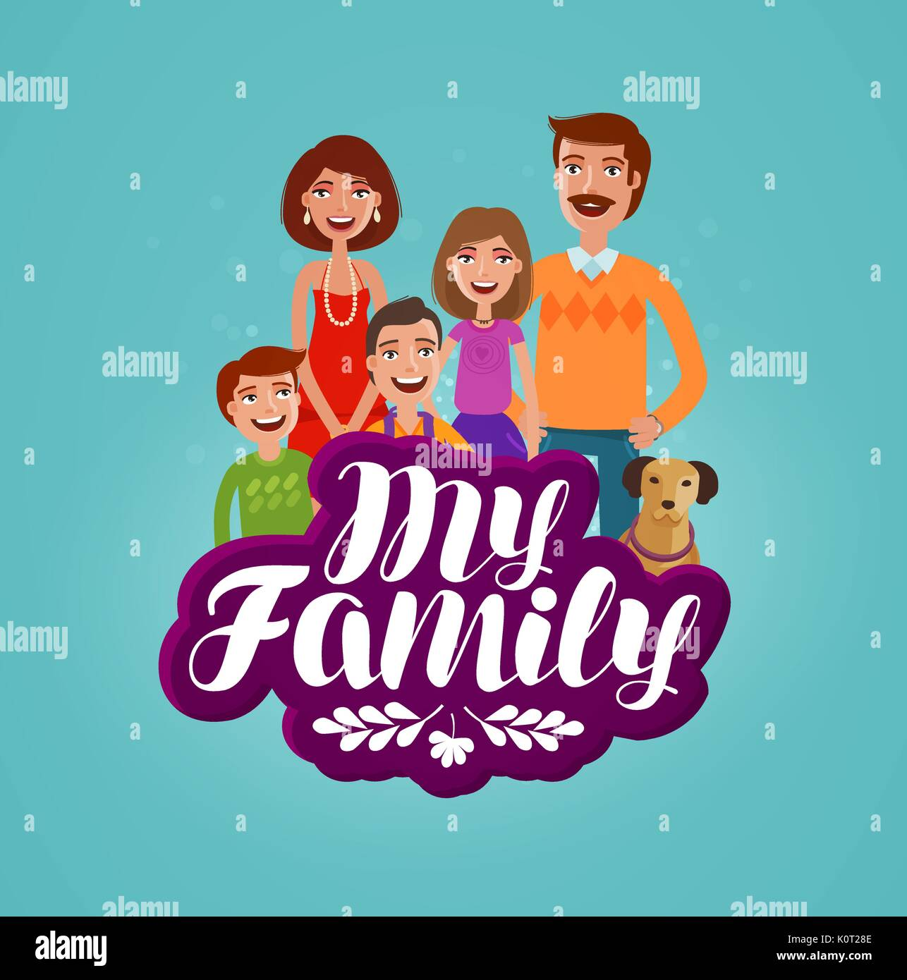 Happy Family Concept Domestic Life Cartoon Vector Illustration Stock Vector Image Art Alamy