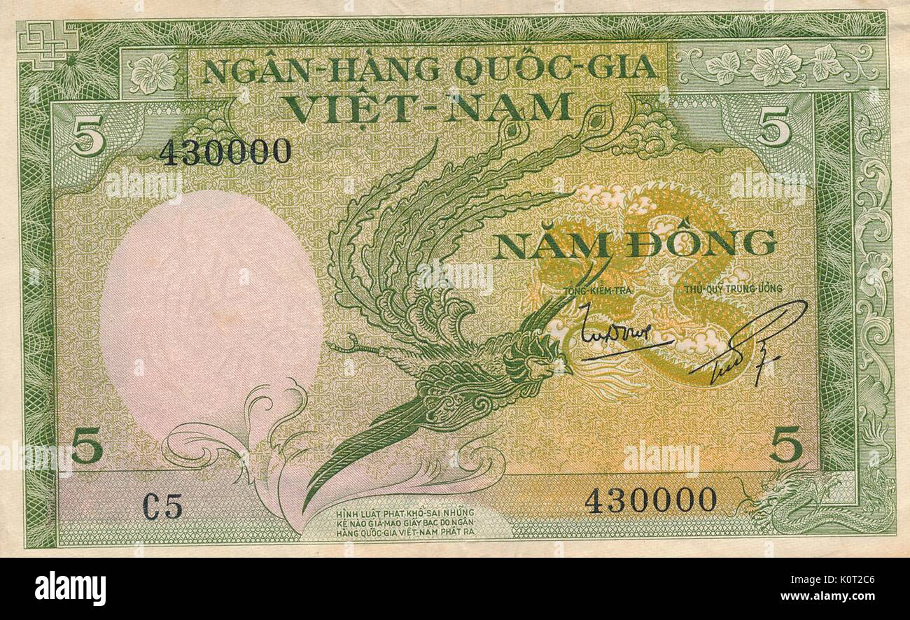 5 Dong Note, a Vietnamese currency note issued during the Vietnam War, green and white color with image of a stylized bird, used as money in South Vietnam, 1964. - Stock Image