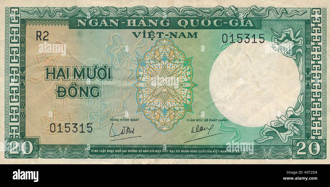 20 Dong Note, a Vietnamese currency note issued during the Vietnam War in South Vietnam, green and white color, 1964. - Stock Image