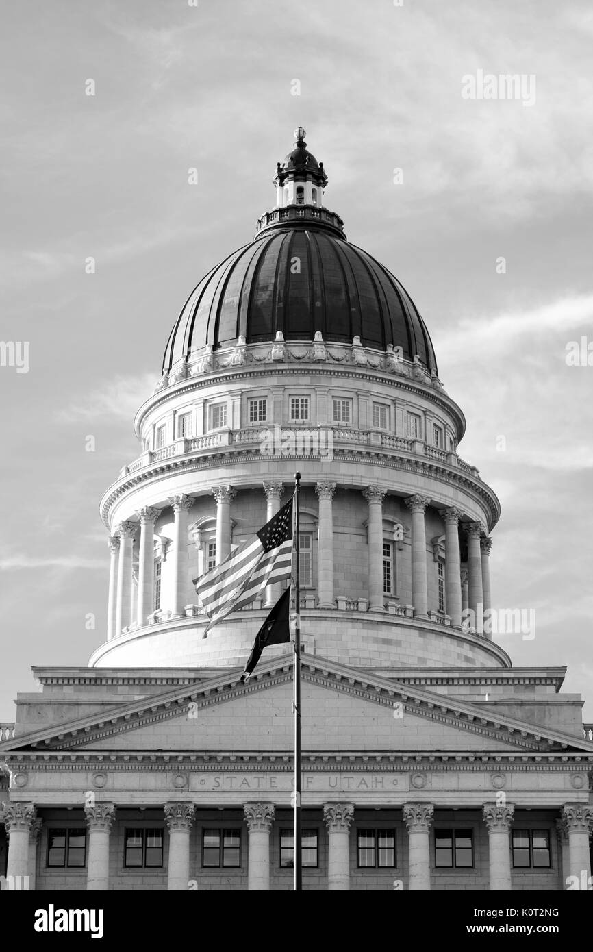 Top of Utah State Capital Building in black and white Stock Photo