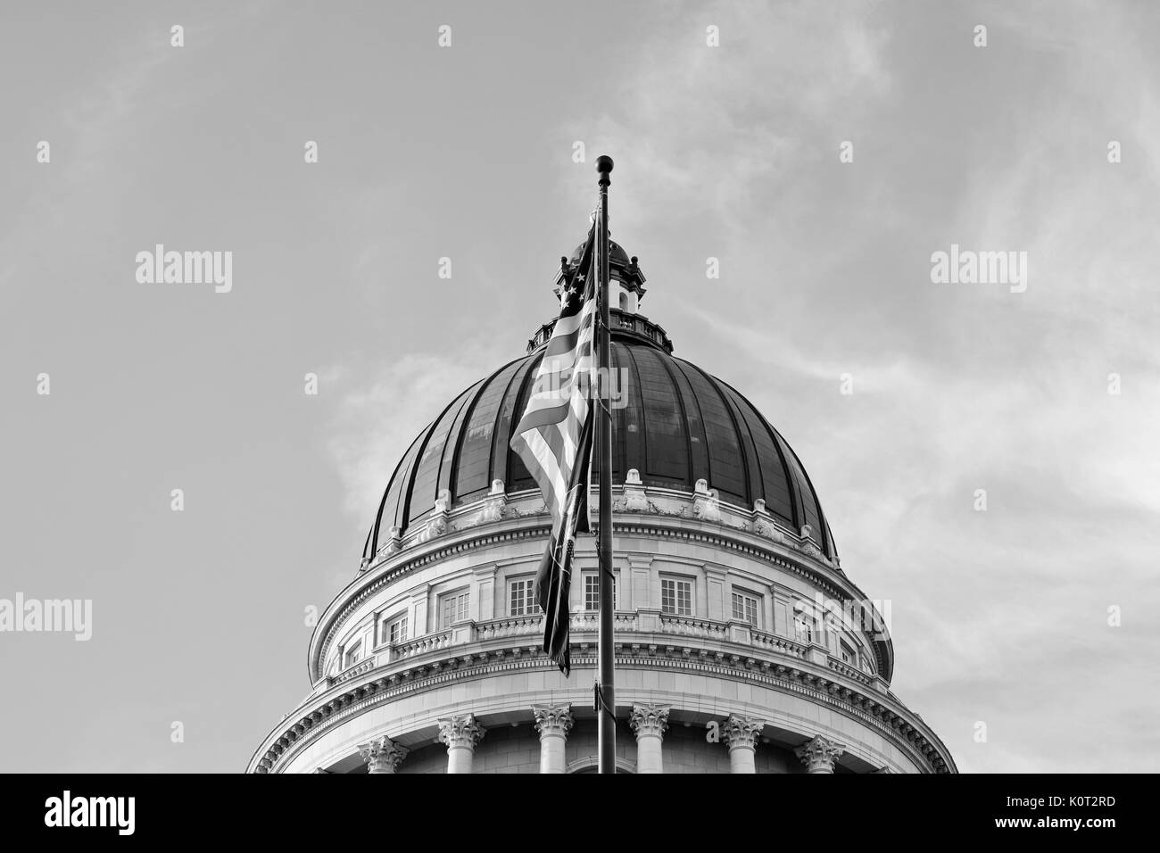 Top of Utah State Capital Building in black and white - Stock Image