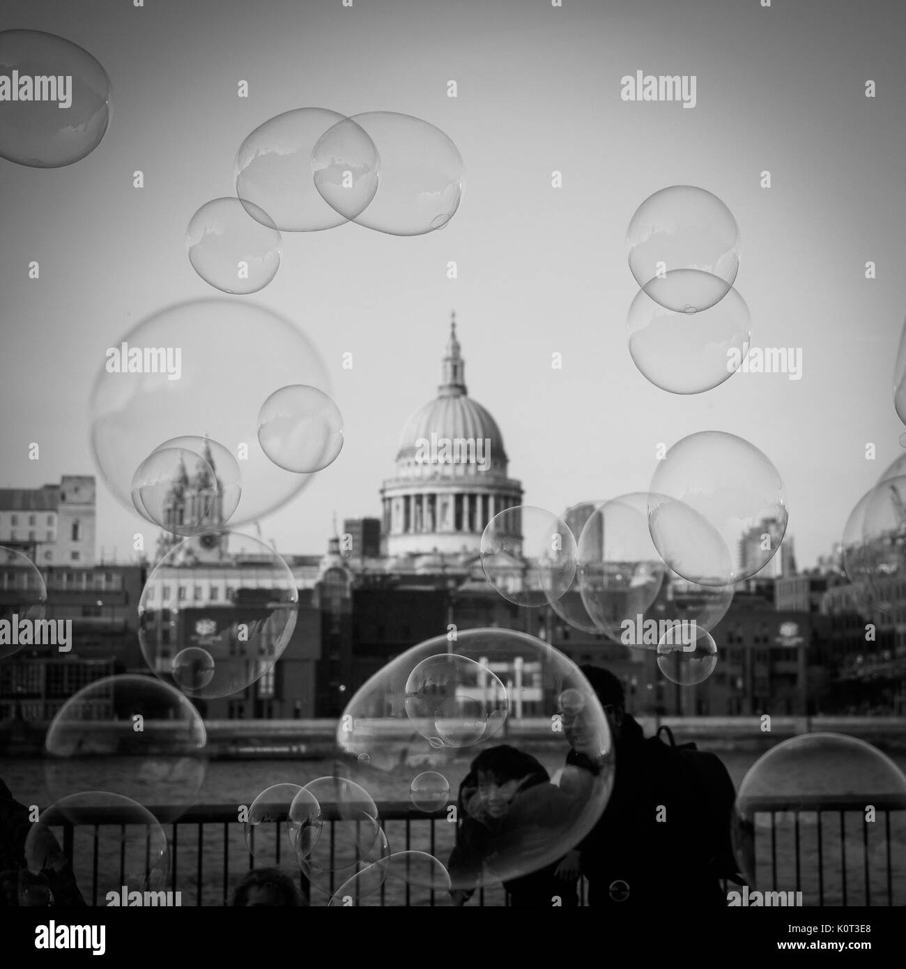 View of St. Paul's Cathedral with soap bubbles in the foreground. London, 2017. Squared format. - Stock Image