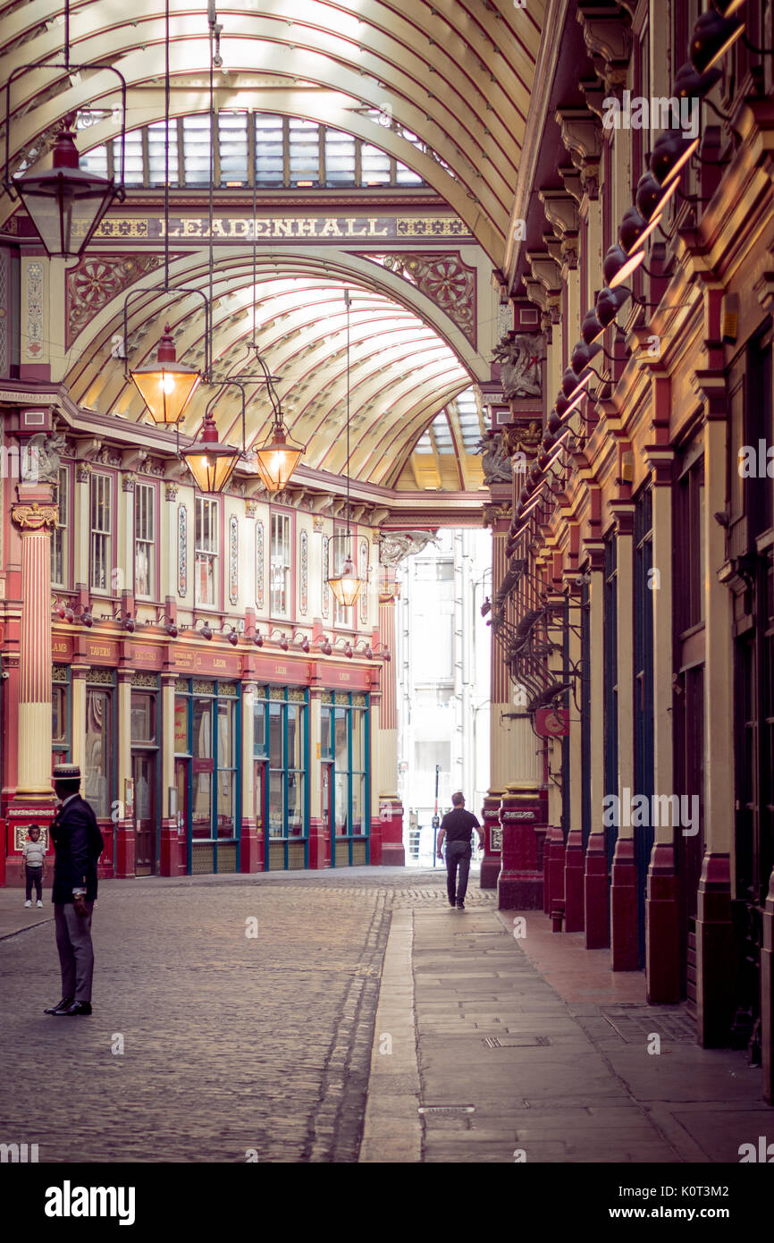 London, UK - November 2017. Leadenhall Market, one of the oldest markets in London, dating from the 14th century, is located in the City. - Stock Image