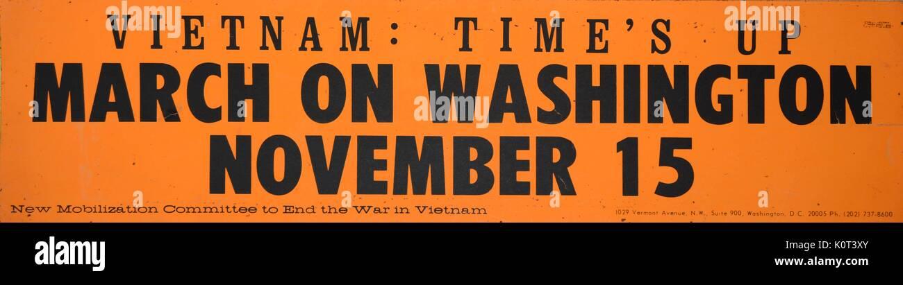 Vietnam times up anti vietnam war bumper sticker with black text on orange background