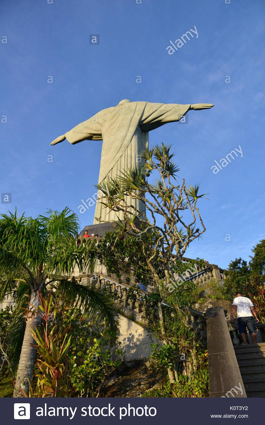 Christ the Redeemer built in 1938 in the art deco style on Morro do Corcovado, Rio de Janeiro, Rio de Janeiro, Brazil, 04.2017 - Stock Image