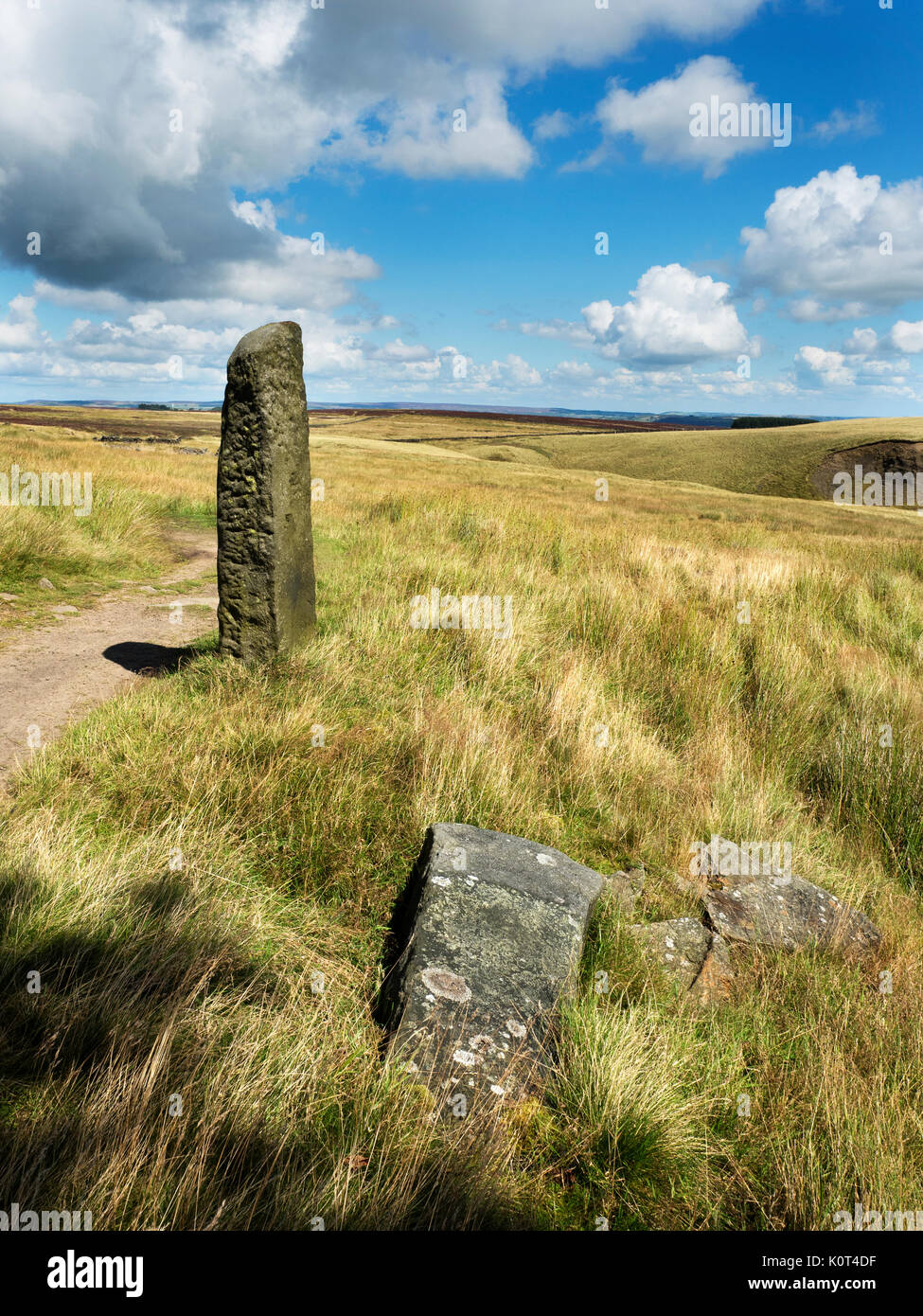 Old Gatepost on the Pennine Way near Haworth West Yorkshire England - Stock Image
