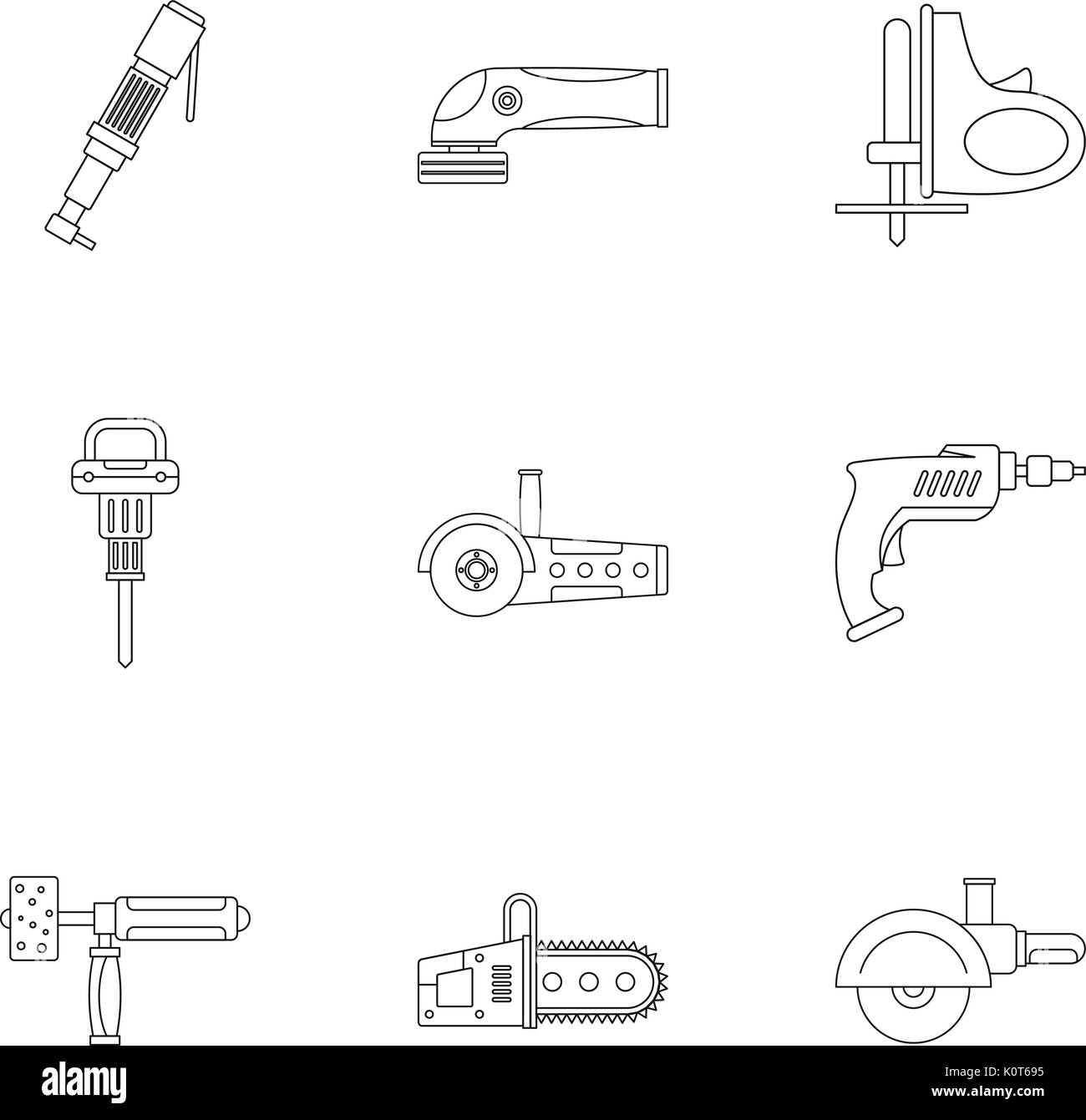 Electric tool icon set, outline style - Stock Image