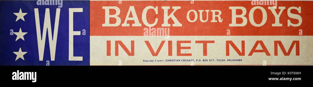 A pro vietnam war bumpersticker that contains three white stars and background colors of red