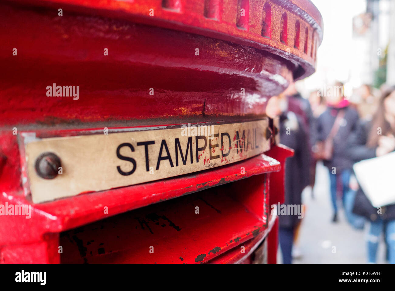 Red mail box in London. Landscape format. Stock Photo