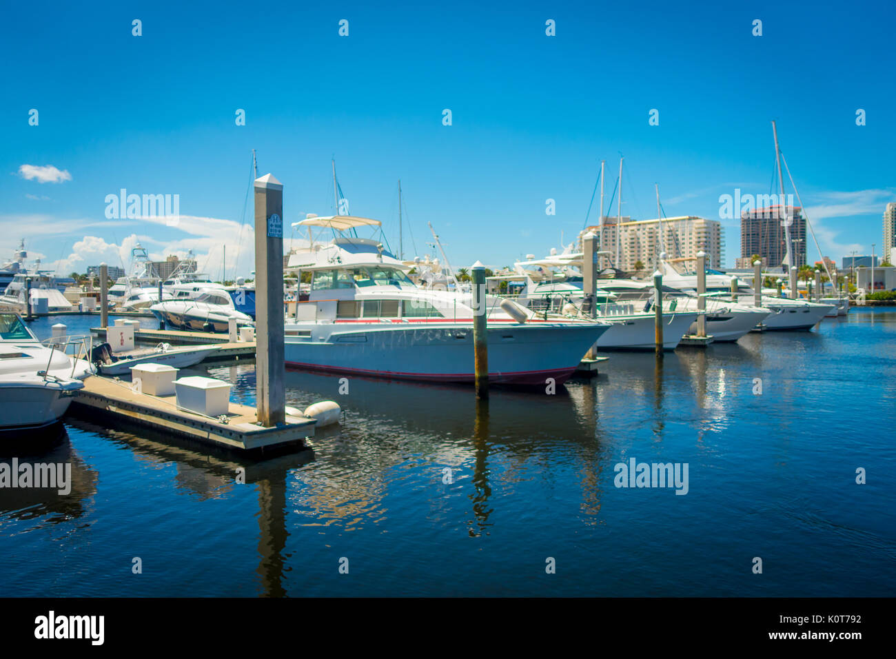 FORT LAUDERDALE, USA - JULY 11, 2017: A line of boats displayed for sale at the Fort Lauderdale International Boat Stock Photo