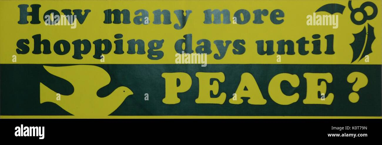 A holiday themed anti vietnam war bumpersticker in black and yellow that contains the text