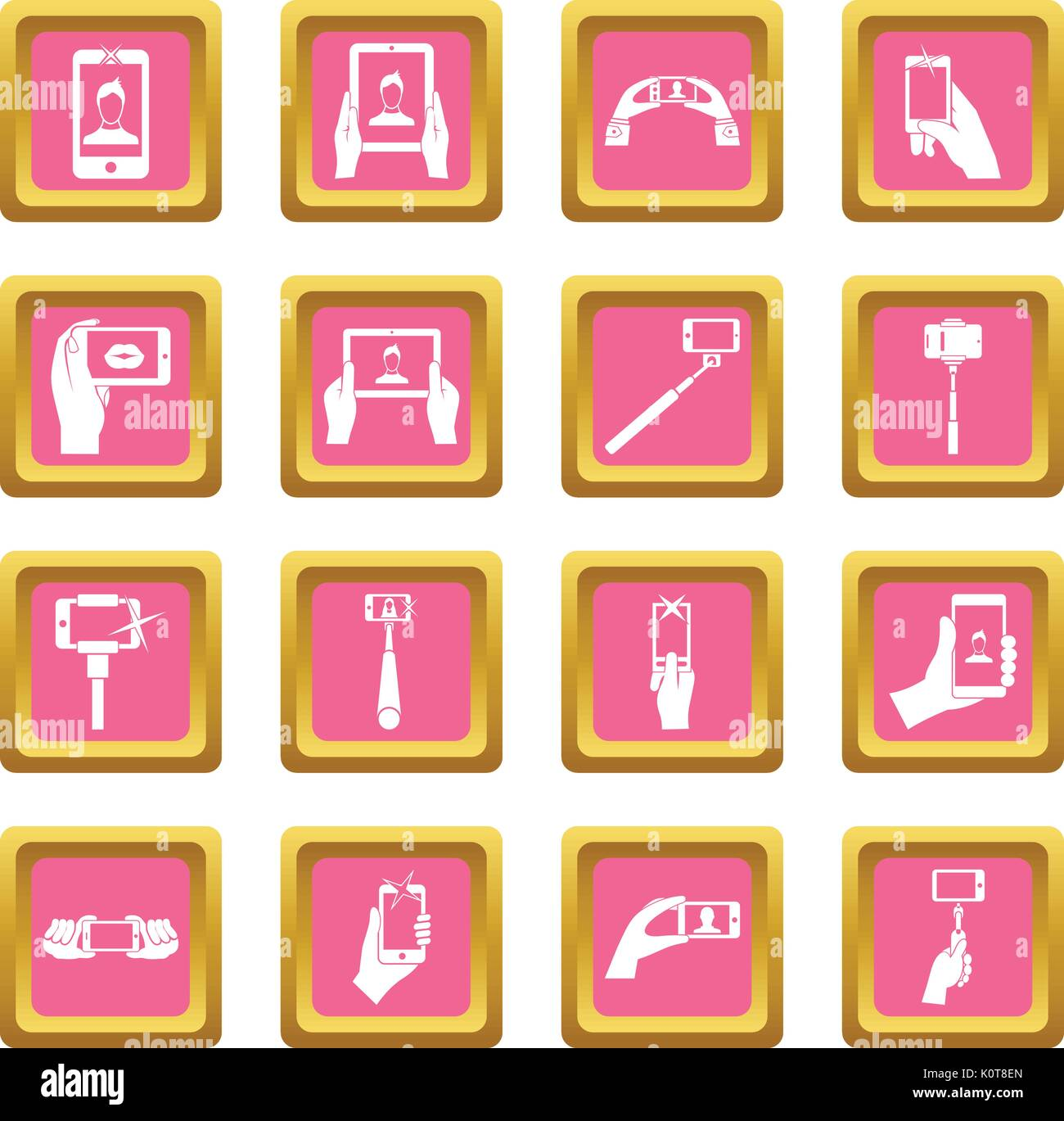 Selfie icons pink - Stock Vector