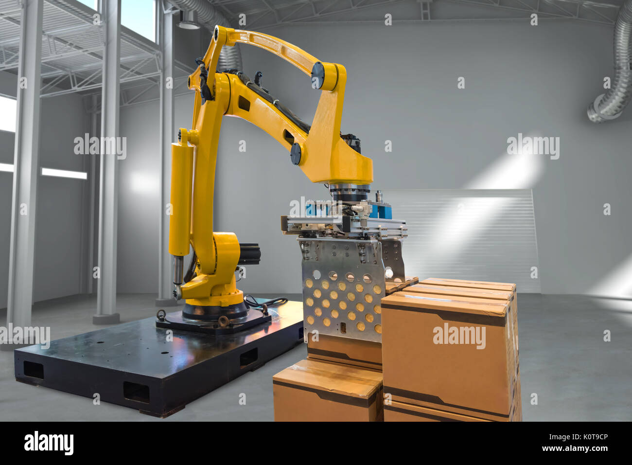 Smart logistic , industry 4.0 concept. Automation shipping robotics stow robot arm machine in smart warehouse factory. - Stock Image