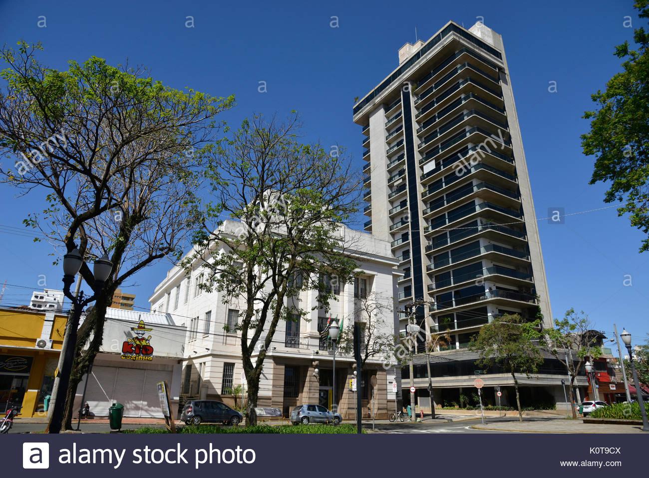 Banking, old building, 2016, Jose Bonifacio Square, center, Piracicaba, Sao Paulo, Brazil. - Stock Image