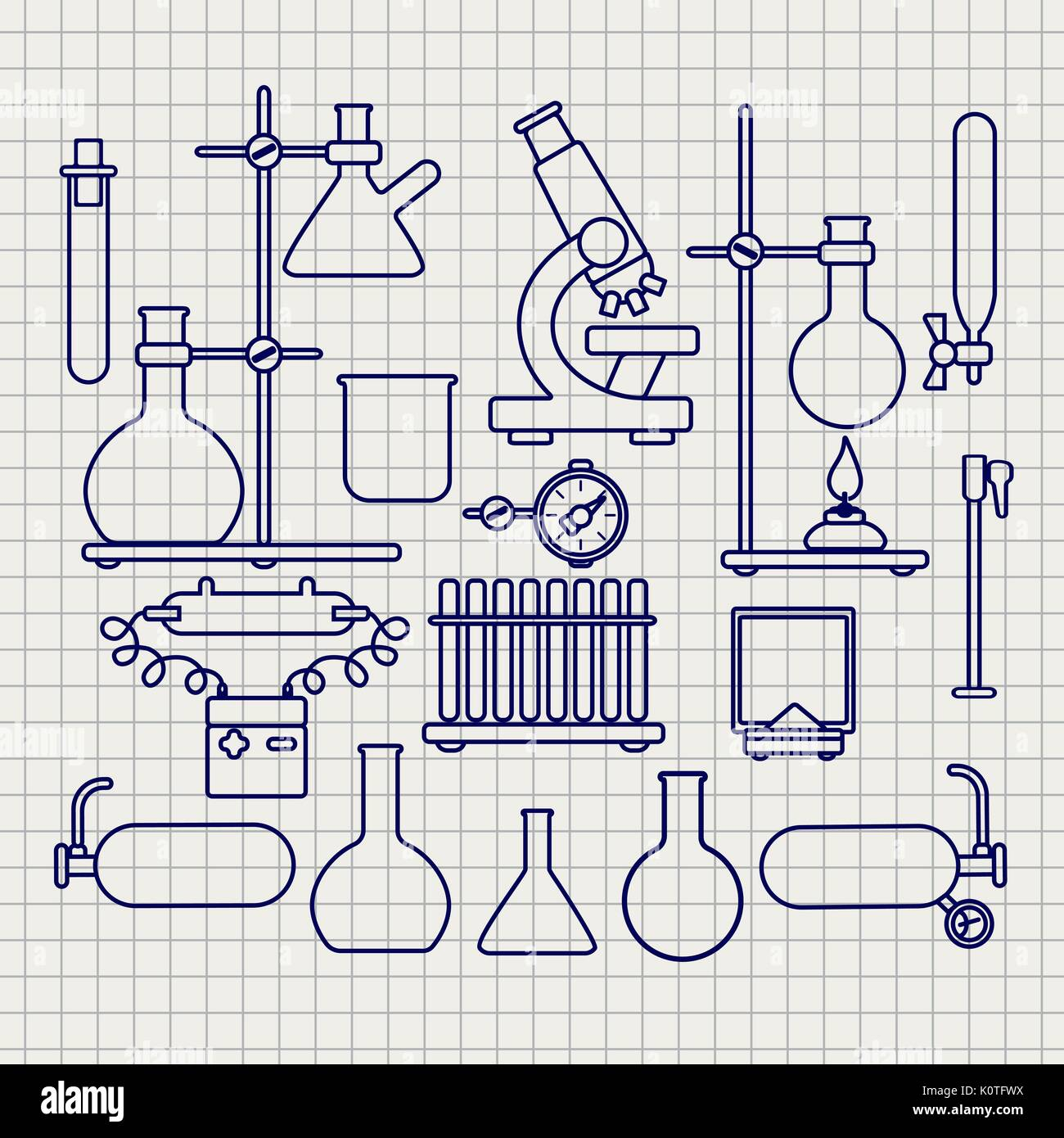 Chemical lab thin line icons set on notebook page, vector illustration Stock Vector