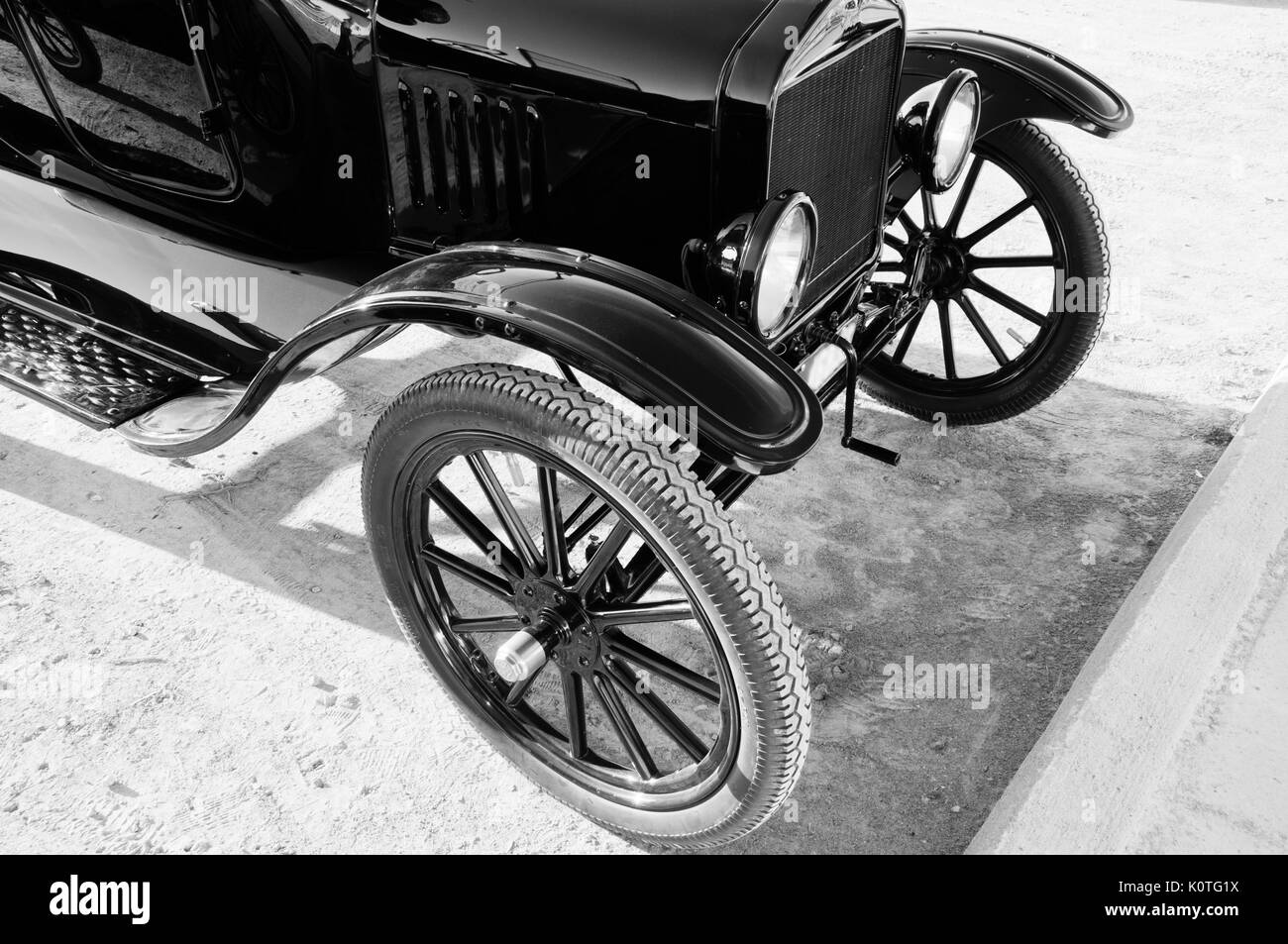 1918 Ford Model T Roadster Detail B&W - Stock Image