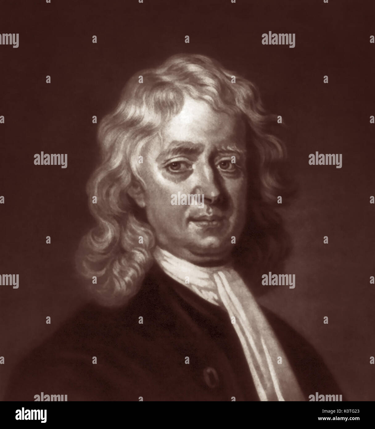 Sir Isaac Newton PRS (1643-1727) was an English mathematician, astronomer, and physicist who invented calculus and discovered the laws of gravity and motion. Newton was a key figure in the scientific revolution and is widely recognised as one of the most influential scientists of all time. - Stock Image