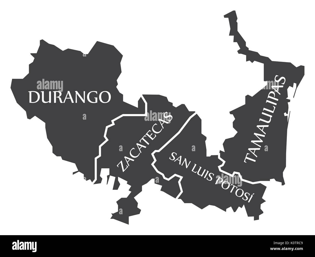 Durango - Zacatecas - San Luis Potosi - Tamaulipas Map Mexico illustration - Stock Image