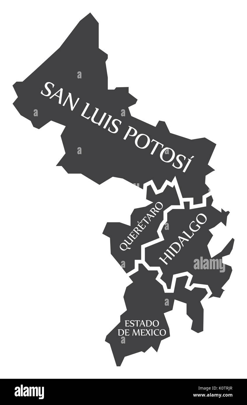 San Luis Potosi - Queretaro - Hidalgo - Estado de Mexico Map Mexico illustration - Stock Image