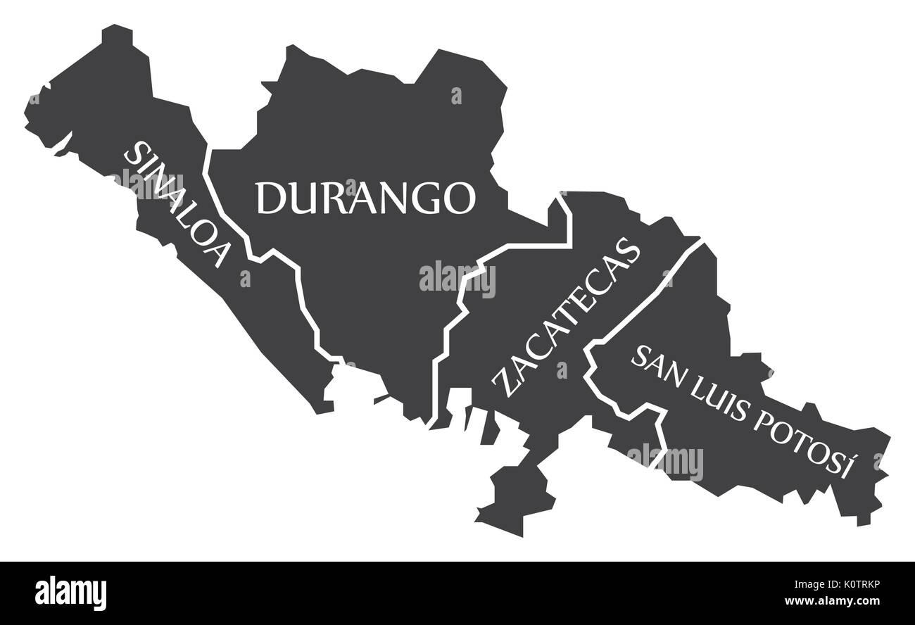 Sinaloa - Durango - Zacatecas - San Luis Potosi Map Mexico illustration - Stock Image