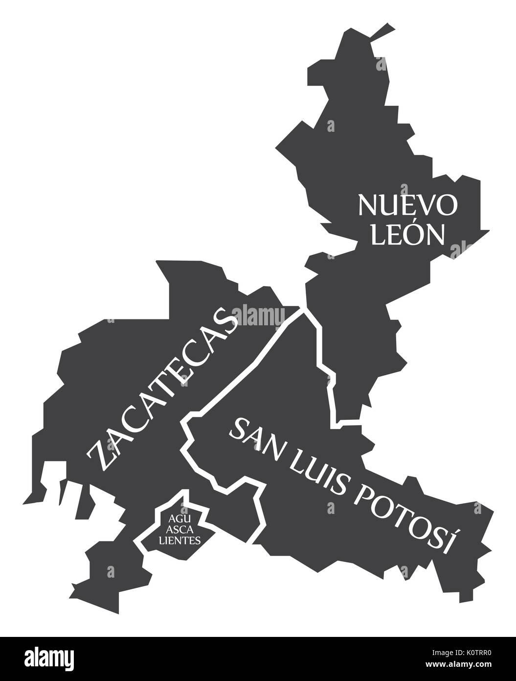 Zacatecas - Nuevo Leon - San Luis Potosi - Aguascalientes Map Mexico illustration - Stock Image