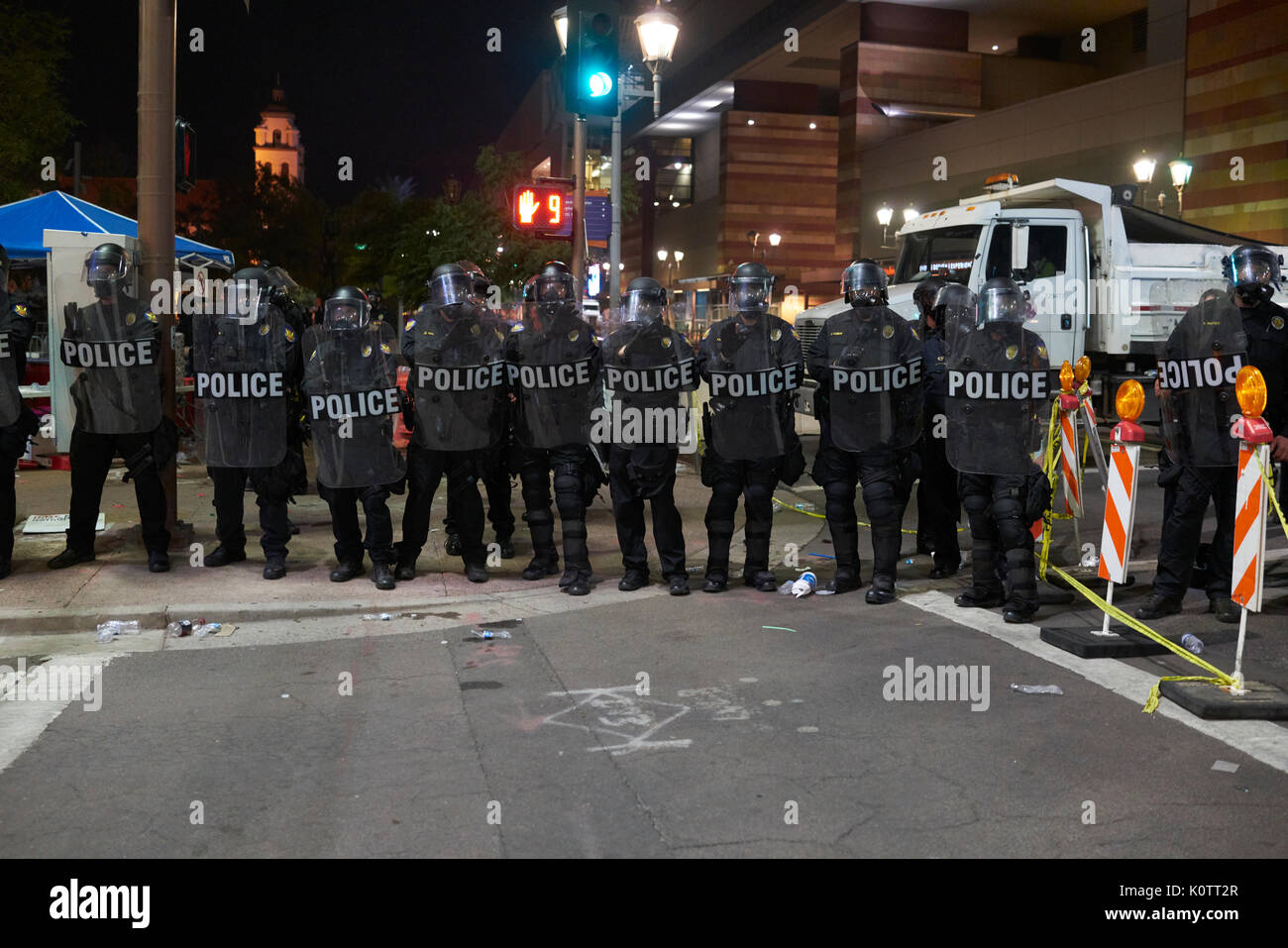 Trump Rally in Phoenix Arizona Protesters and Supporters Stock Photo