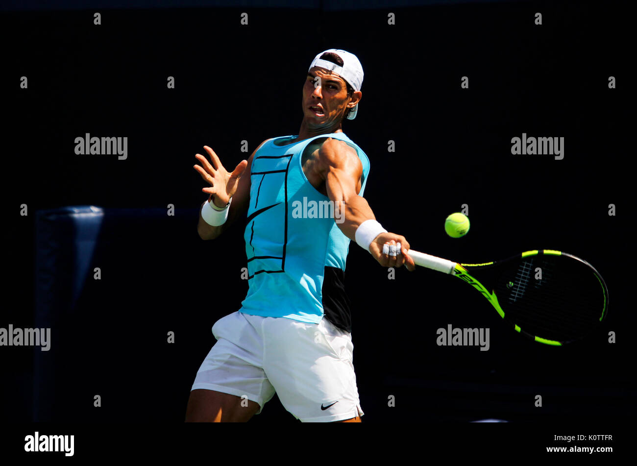 New York, United States. 23rd Aug, 2017. US Open Tennis: New York, 23 August, 2017 - Spain's Rafael Nadal practicing at the National Tennis Center in Flushing Meadows, New York in preparation for the US Open which begins next Monday, August 28th Credit: Adam Stoltman/Alamy Live News - Stock Image