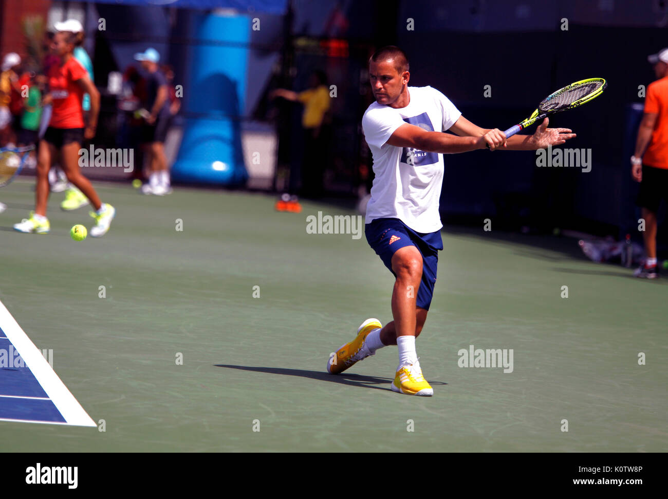 New York, United States. 23rd Aug, 2017. US Open Tennis: New York, 23 August, 2017 -Russia's Mikhail Youzhny practicing at the National Tennis Center in Flushing Meadows, New York in preparation for the US Open which begins next Monday, August 28th Credit: Adam Stoltman/Alamy Live News - Stock Image