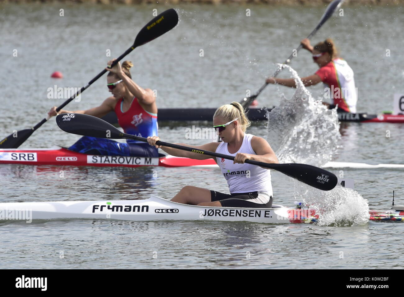 Racice, Czech Republic. 24th Aug, 2017. EMMA JORGENSEN of Denmark in action during the 2017 ICF Canoe Sprint World Championships in Racice, Czech Republic, August 24, 2017. Credit: Roman Vondrous/CTK Photo/Alamy Live News - Stock Image