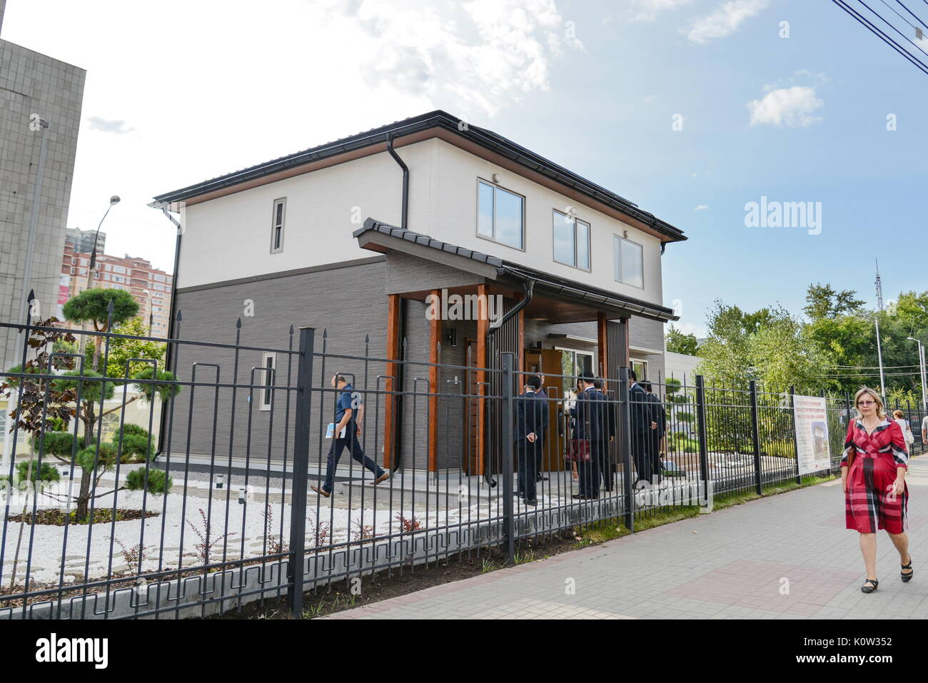 VORONEZH, RUSSIA - AUGUST 24, 2017: The first Russian-Japanese two-storey smart home made of wood and eco-friendly materials. The house is equipped with energy management system, air quality monitors and temperature sensors. Kristina Brazhnikova/TASS - Stock Image