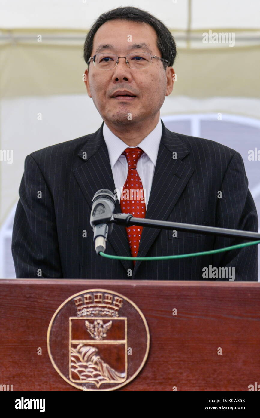 VORONEZH, RUSSIA - AUGUST 24, 2017: Japan's Deputy Land, Infrastructure, Transport and Tourism Minister Koichi Yoshida at the opening of the first Russian-Japanese two-storey smart home made of wood and eco-friendly materials. The house is equipped with energy management system, air quality monitors and temperature sensors. Kristina Brazhnikova/TASS - Stock Image