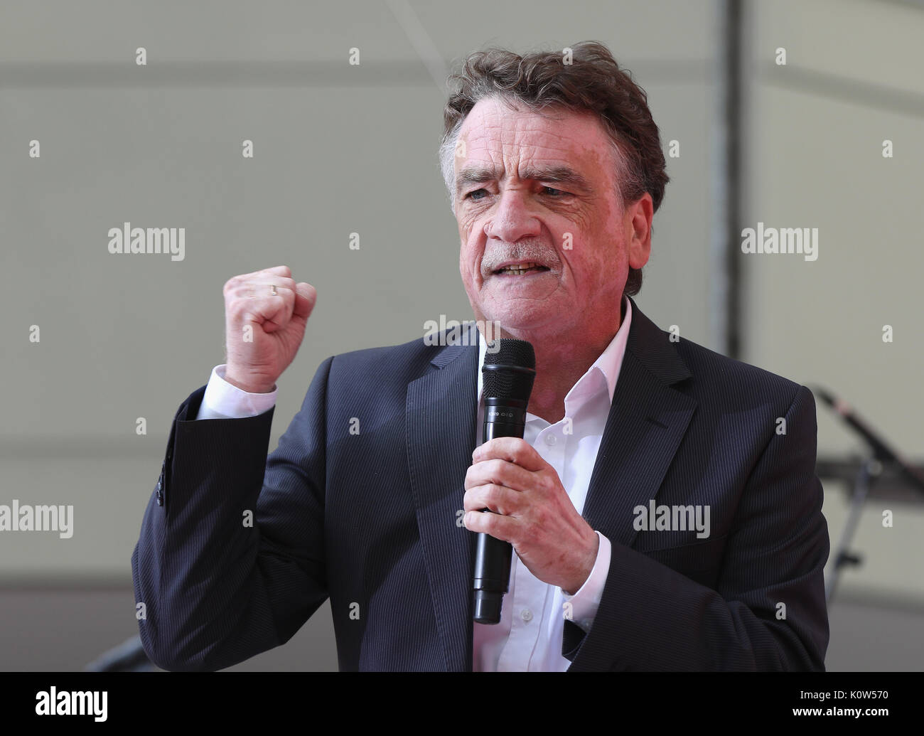 Essen, Germany. 24th Aug, 2017. North Rhine–Westphalias social democratic party chairman Michael Groschek speaks during a campaign rally. Credit: Juergen Schwarz/Alamy Live News - Stock Image