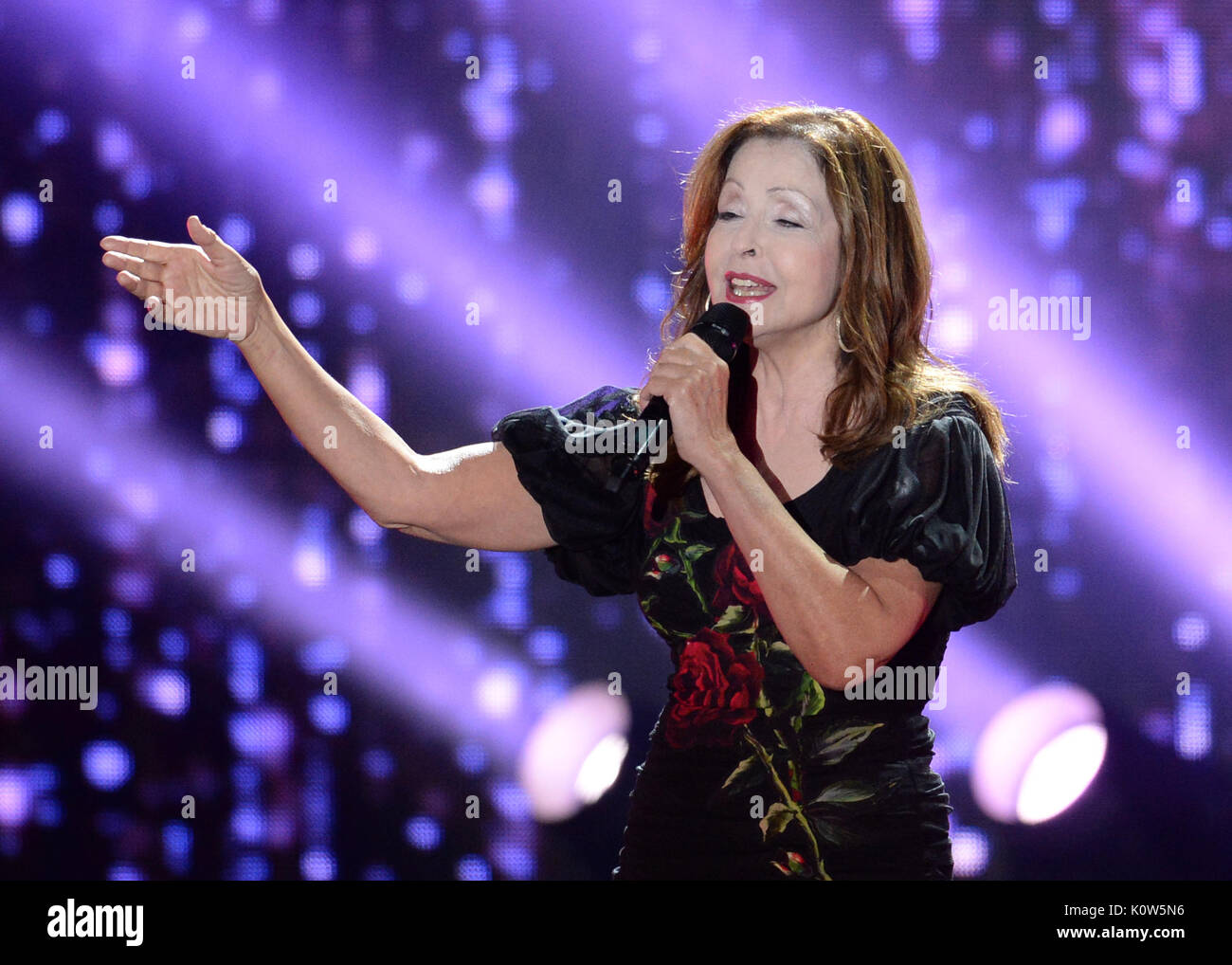 Singer Vicky Leandros performing onstage during the ZDF