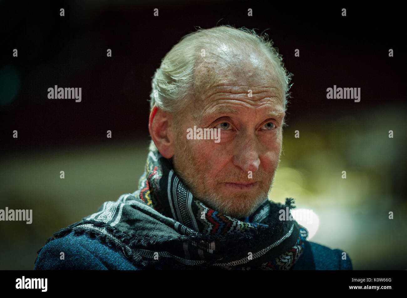 Edinburgh UK Aug 25 2017;  Game of Thrones actor Charles Dance at the Usher Hall with the Cincinnati Symphony Orchestra as part of the Edinburgh International Festival. Lincoln Portrait, which the Cincinnati orchestra premiered in 1942, employs the great President's writings, performed by narrator Charles Dance.credit steven scott taylor / alamy live news - Stock Image