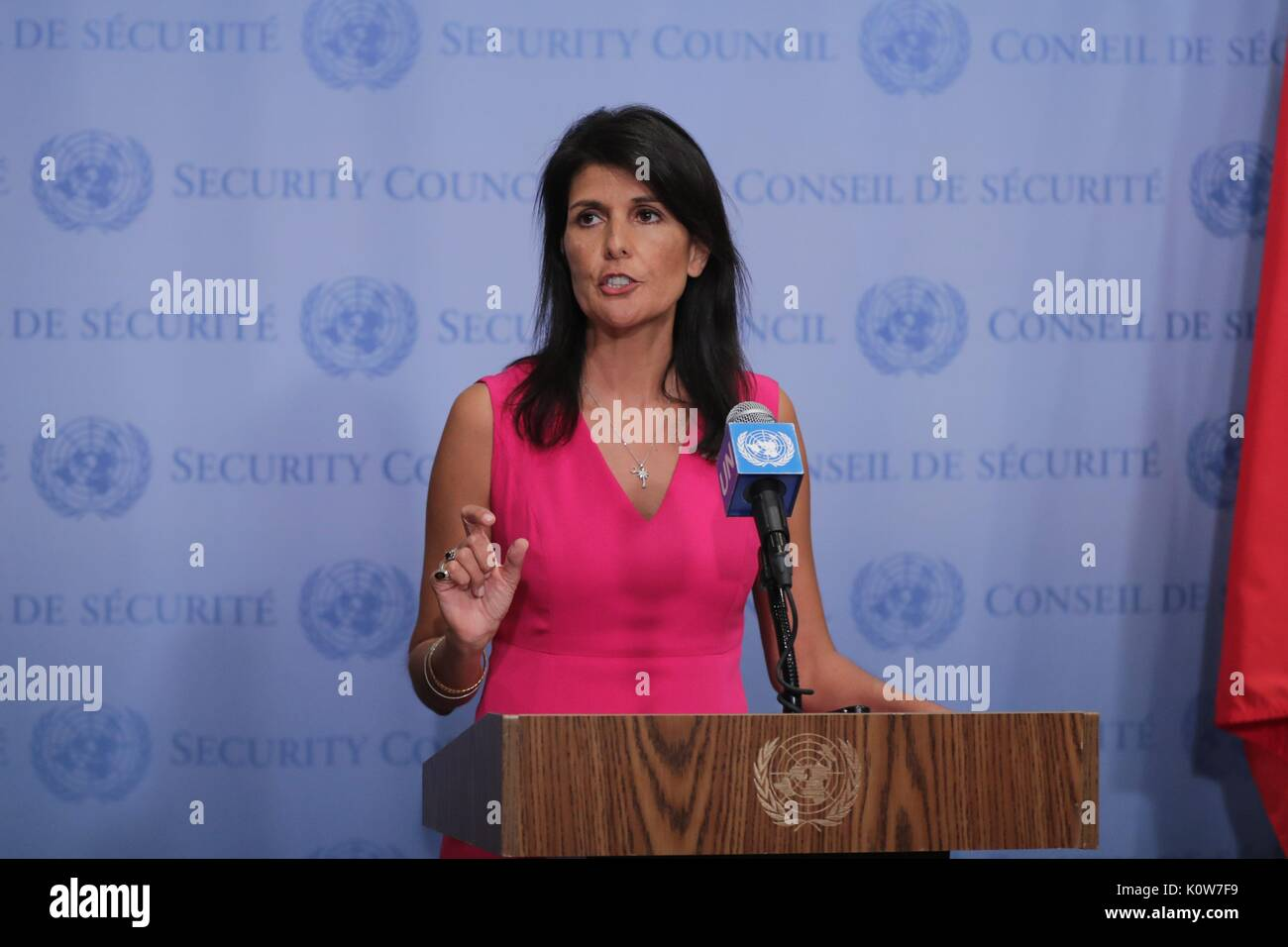 United Nations, New York, USA, August 25 2017 - Nikki Haley United States Ambassador to the UN, addresses the press on Her visit to the IAEA today at the UN Headquarters in New York. Photo: Luiz Rampelotto/EuropaNewswire | usage worldwide - Stock Image
