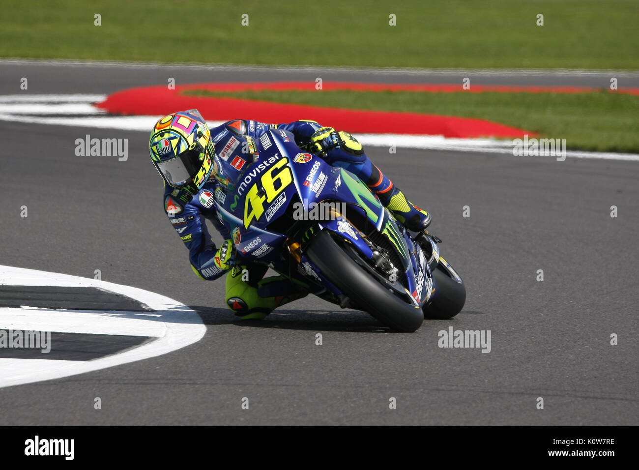 Silverstone, UK. 25th Aug, 2017. Silverstone, 25th August, 2017 The GOAT - Valantino Rossi on his Yamaha during the OCTO British MotoGP weekend Credit: Motofoto/Alamy Live News - Stock Image