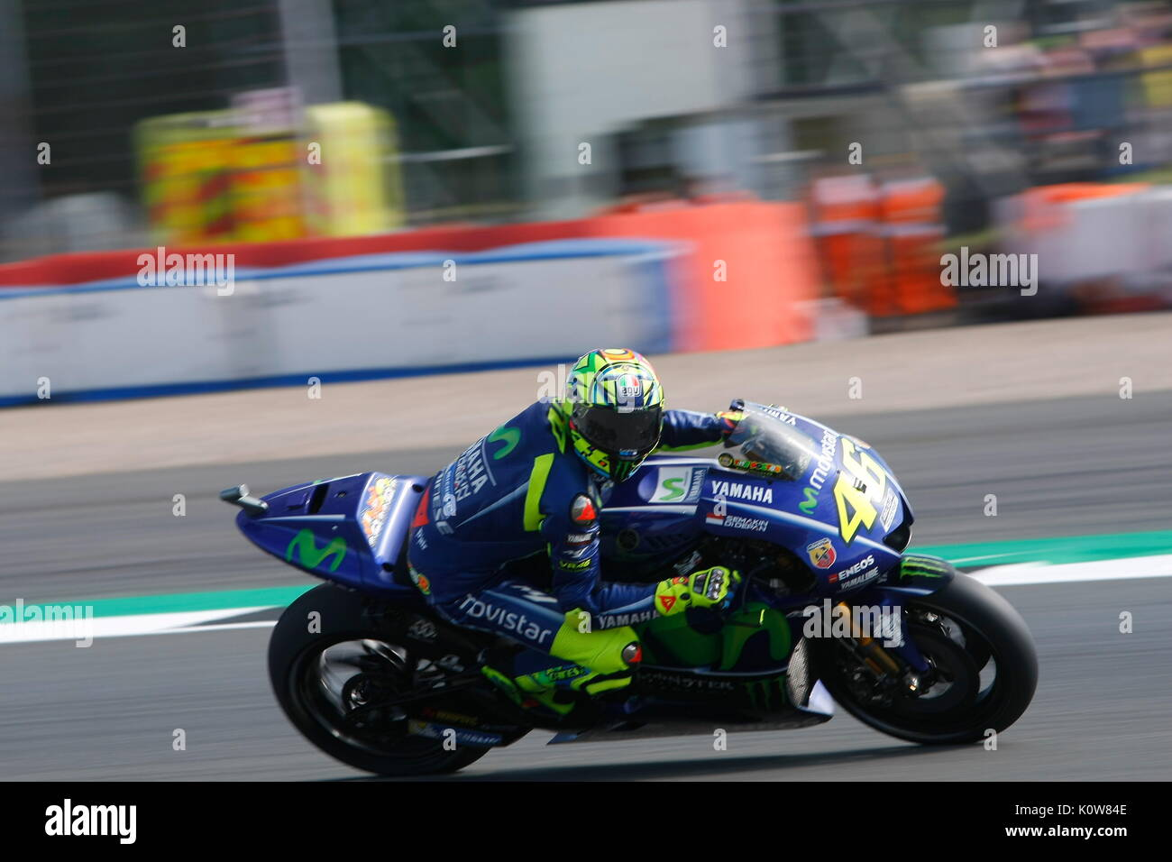 Silverstone, 25th August, 2017 The GOAT (Greatest of all Time) corners at speed on his Yamaha  at the OCTO British MotoGPSilverstone, 25th August, 2017   during the OCTO British MotoGP weekend - Stock Image