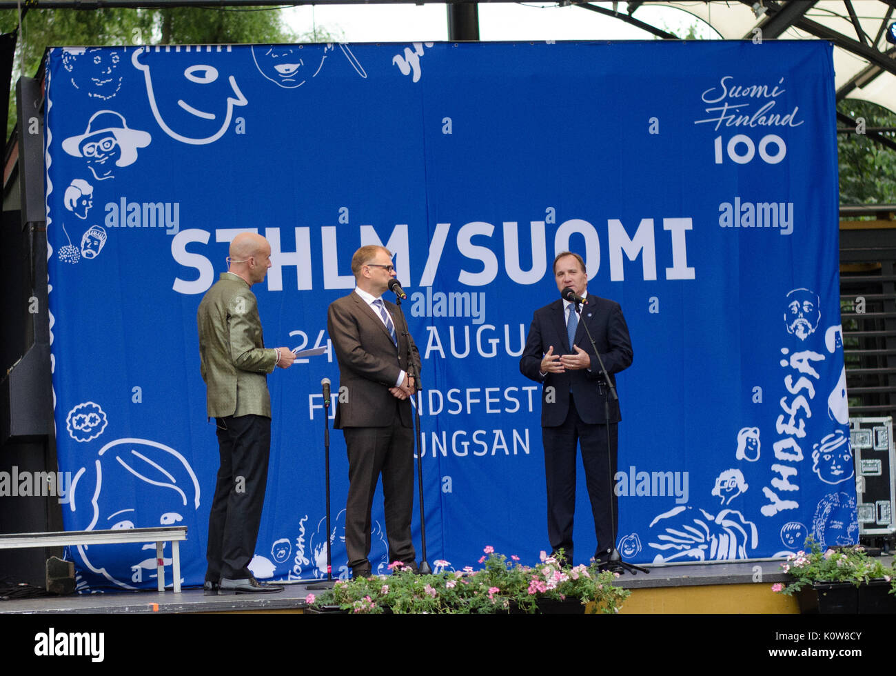 Stockholm, Sweden - August 25 2017. The Prime ministers of both Sweden and Finland visiting the 3-day festival to celebrate Finlands 100-year anniversary in Kungsträdgården in the central part of Stockholm. Talking with the media-personality Mark Levengood on the stage. Credit: Jari Juntunen/Alamy Live News - Stock Image