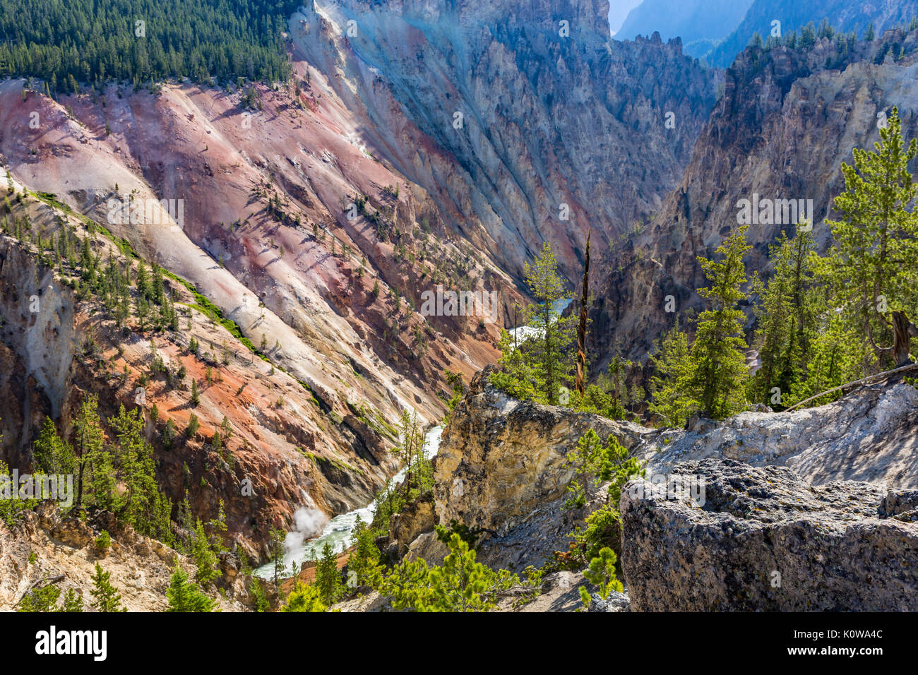 A view looking down the Grand Canyon of the Yellowstone from Artist Point in Yellowstone National Park, Wyoming - Stock Image