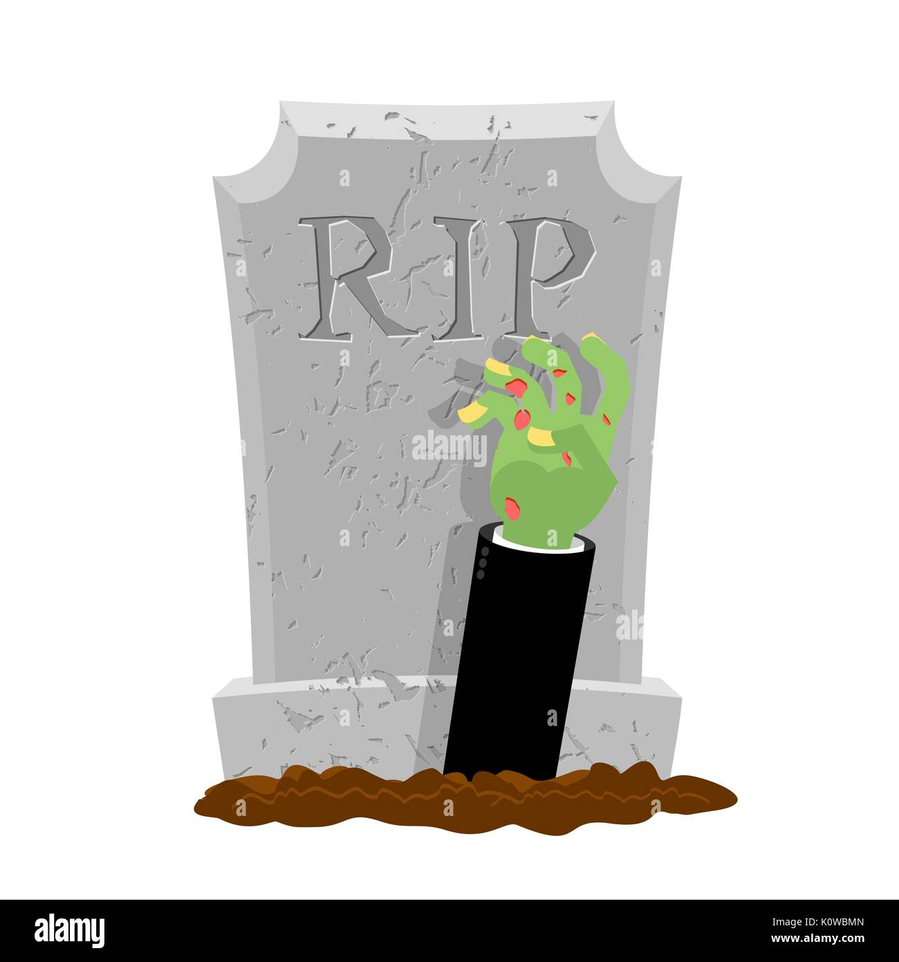 Halloween. Grave and hand of zombie. Gravestone and arm dead man. Illustration for terrible holiday - Stock Vector