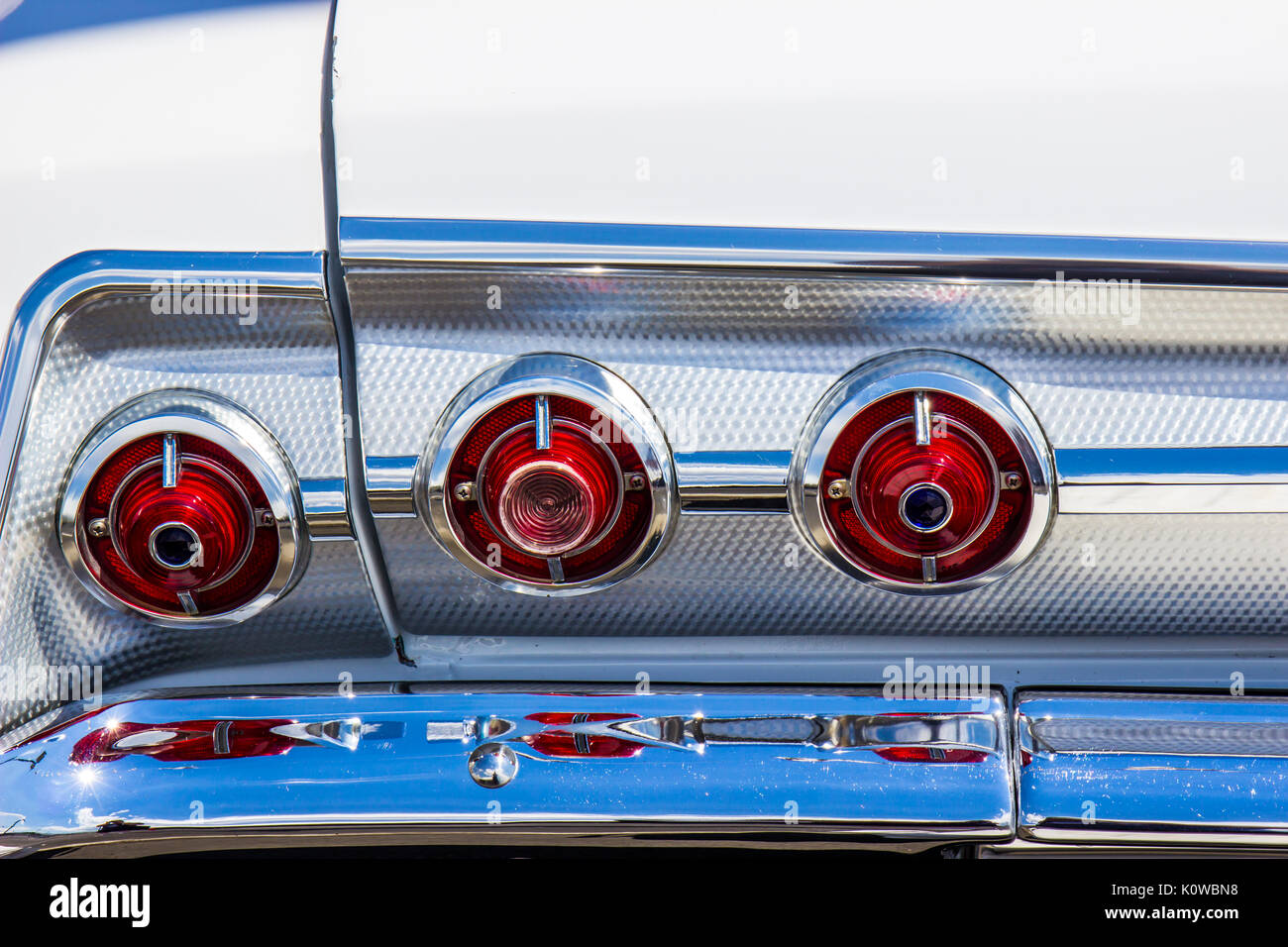 Vintage Tail Lights  & Chrome Bumper On Classic Car - Stock Image