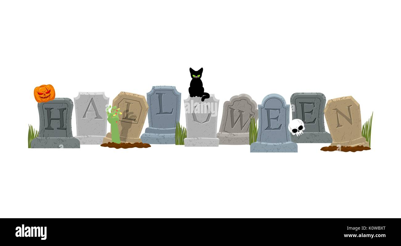 Halloween. Grave and hand of zombie. Black cat and skull. Sinister Pumpkin. Gravestone in cemetery. Illustration for terrible holiday - Stock Vector