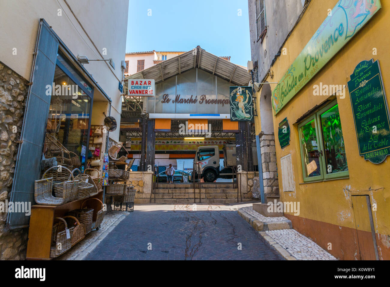 Entrance to the Provencal market in Antibes, France Stock Photo