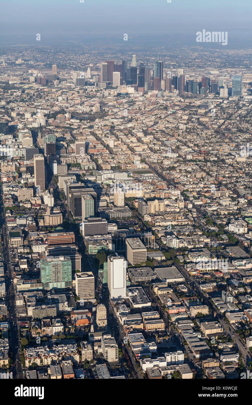 Afternoon aerial view of the Wilshire Blvd and downtown Los Angeles in Southern California. - Stock Image