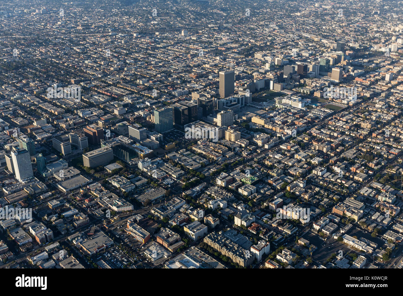 Aerial view of Wilshire Blvd and the Koreatown neighborhood in Los Angeles, California. - Stock Image