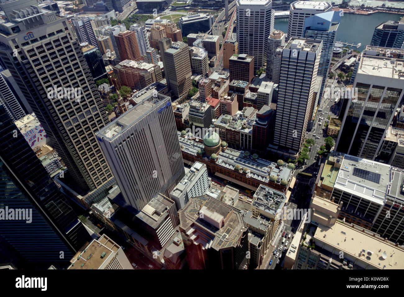 The Aerial View Of The Central Business District (CBD) From Sydney Tower Eye Included Is The Histroic Queen Victoria Building Sydney New South Wales A - Stock Image
