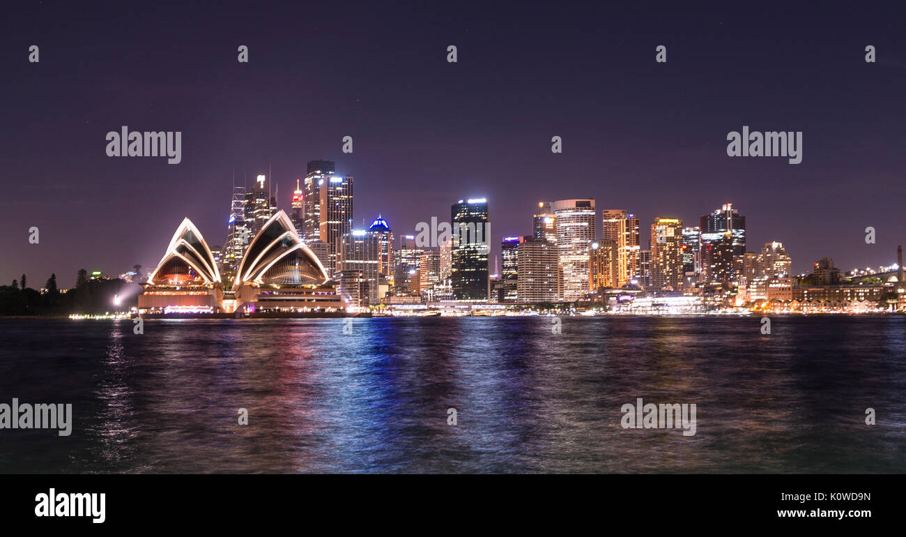 Circular Quay and The Rocks at night, skyline with Sydney Opera House, Opera, Financial District, Banking district, Kirribilli - Stock Image